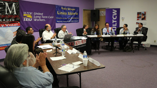 PHOTO: Radio Bilingüe and KPFK teamed up to broadcast a town hall meeting in Rep. Gary Millers district.
