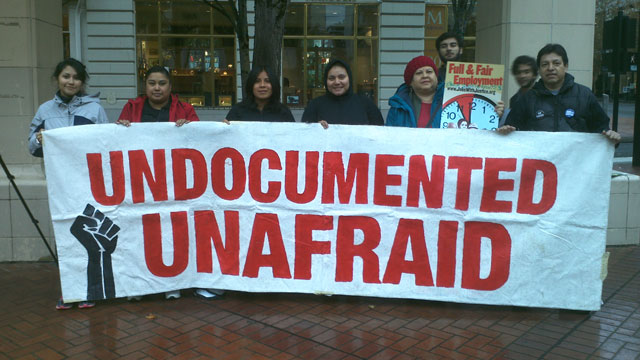 PHOTO: Oregon immigrant rights activists in Portland, Ore. at the start of their 5 day trip to the Capitol in Salem to demand drivers licenses for undocumented immigrants be reinstated.