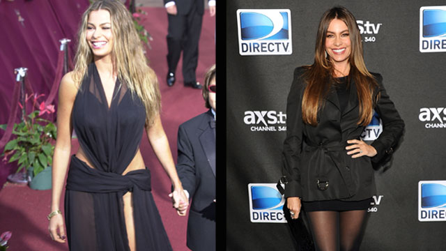 PHOTO: Sofia Vergara at Premio Lo Nuestro in 2000 and at the DirecTV Super Saturday Night party on Feb. 2, 2013.