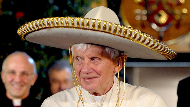 PHOTO: Pope Benedict XVI wears a sombrero in Leon, Mexico on March 25, 2012.