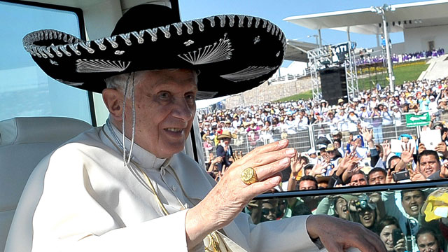 PHOTO: Pope Benedict XVI wearing a Sombrero in Bicentennial Park near Silao, Mexico.