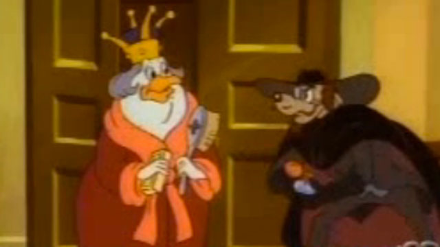 """PHOTO:Screenshot from a """"DuckTales"""" episode with a spoof cameo by Queen Eliabeth II."""