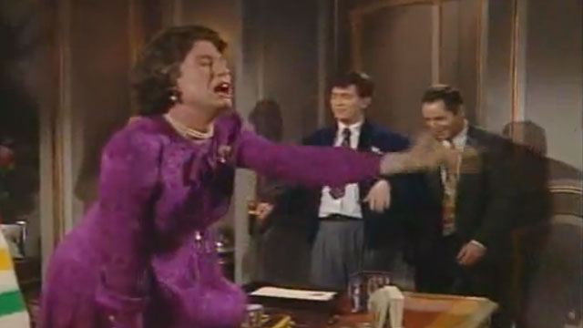 """PHOTO:Screenshot from a """"Kids In The Hall"""" episode with a spoof cameo by Queen Eliabeth II."""