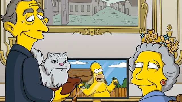 """PHOTO:Screenshot from a """"Simpsons"""" episode with a spoof cameo by Queen Eliabeth II."""
