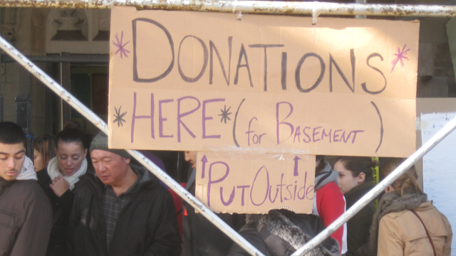 PHOTO: Occupy Sandy organizers collect donations at St Jacobi Church in Sunset Park, Brooklyn.