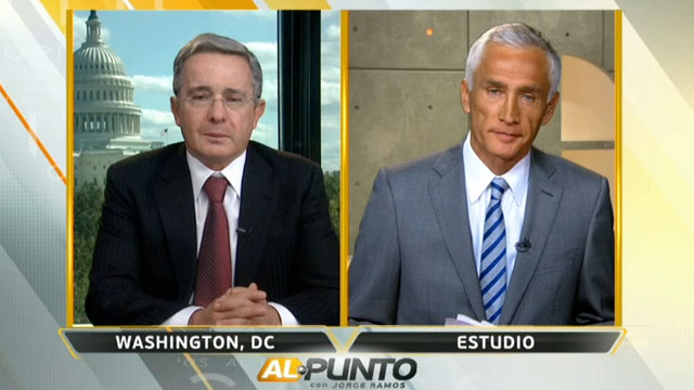 PHOTO:Univisions Jorge Ramos interview Colombias ex-president Alvaro Uribe.