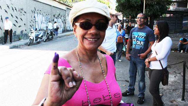 PHOTO: Lesbia Gonzalez began to line up at her voting station in Caracas at 5:30 am. It took her 3 and a half hours to cast her vote.
