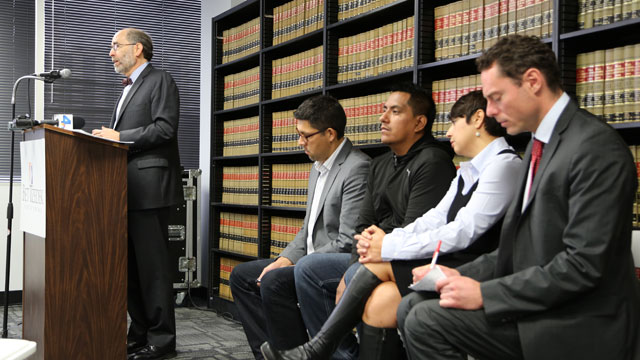 PHOTO:Michael Rubin, attorney for warehouse workers, speaks at a press conference in Los Angeles.