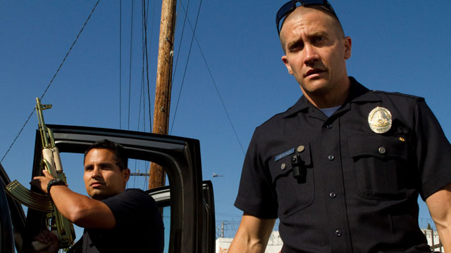 PHOTO:Michael Peña and Jake Gyllenhaal patrol the mean streets of Los Angeles in their new action thriller, End of Watch.