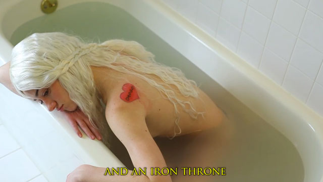 "PHOTO: A screenshot from ""Khaleesi Rihanna 'Stay' Parody Game of Thrones."""