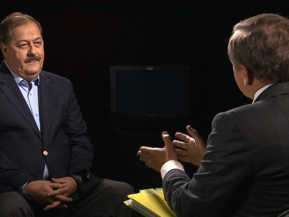 PHOTO: Don Blankenship sits down with ABC News Chief Investigative Correspondent Brian Ross.