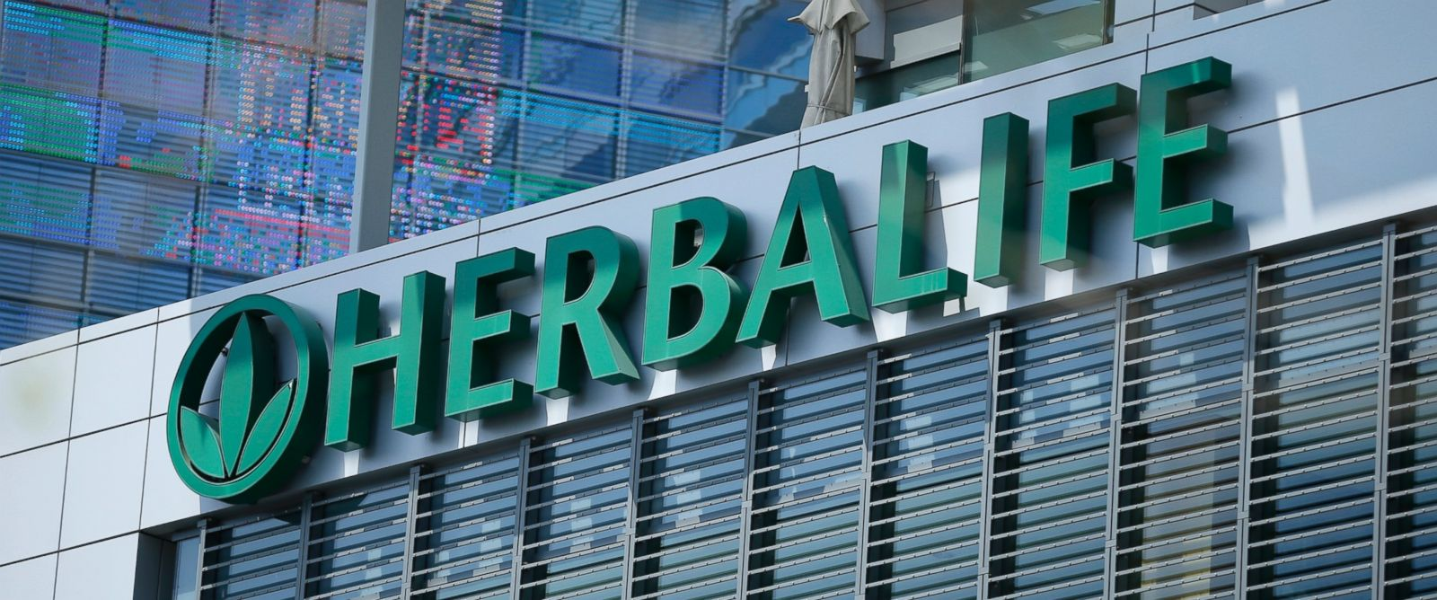 PHOTO: The Herbalife logo is seen on a building housing some of their offices in Los Angeles