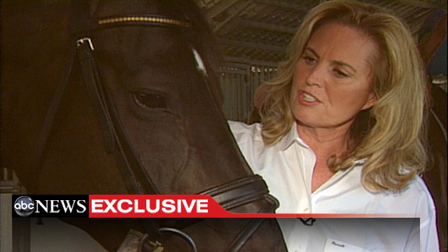 PHOTO: Ann Romney with her dressage horses in Moorpark, California.