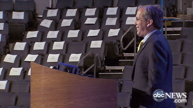 PHOTO: Top Obama bundler Steve Spinner, who was at the center of the federal loan to Solyndra, got a VIP tour of the Democratic National Convention floor in Charlotte and posed at the podium.