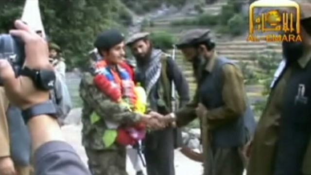 VIDEO: Taliban releases video of rogue ANA soldier as hes congratulated by Taliban commanders.