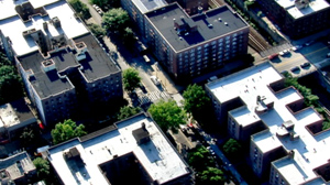 PHOTO An aerial view of the scene where raids took place in New York is shown.