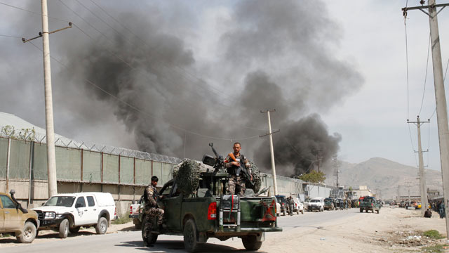 PHOTO: Smoke billows out from a compound after it was attacked by militants in Kabul, Afghanistan, May 2, 2012. Taliban insurgents attacked a compound housing foreigners in the Afghan capital Wednesday, killing seven people, hours after President Barack O