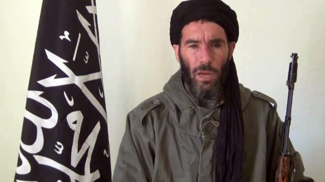 PHOTO: Militia leader Moktar Belmoktar, is seen from a video clip, announcing the capture of 41 foreigners from the Ain Amenas gas plant in Algeria, Jan. 16, 2013.