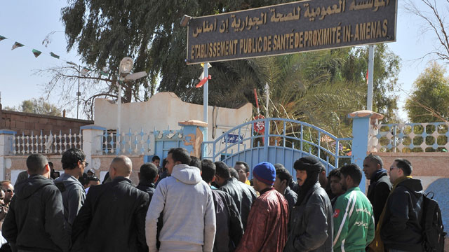 PHOTO: Residents of Ain Amenas, Algeria, gather outside the hospital trying to get information concerning relatives wounded during the terrorist attack at the gas plant, Jan. 18, 2013.