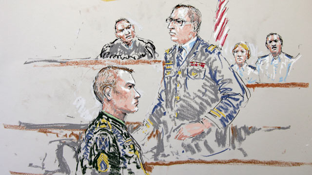 PHOTO: U.S. Army Staff Sgt. Calvin Gibbs, seated at lower left, is shown in this courtroom sketch as Army prosecutor Capt. Dan Mazzone stands at center, and military Judge Lt. Col. Kwasi Hawks listens, at top left, Oct. 31, 2011, at Joint Base Lewis-McCho