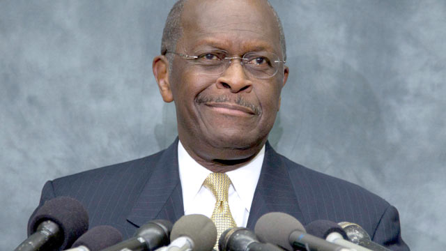 PHOTO: Republican presidential candidate Herman Cain pauses as he speaks at the Congressional Health Caucus - ap_herman_cain_thg_111102_wmain