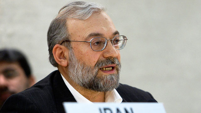 PHOTO: Mohammad Javad Larijani, Secretary General of the High Council for Human Rights of the Islamic Republic of Iran, delivers his speech during the Universal Periodic Review on Iran at the European headquarters of the U.N. in Geneva, Switzerland, in th