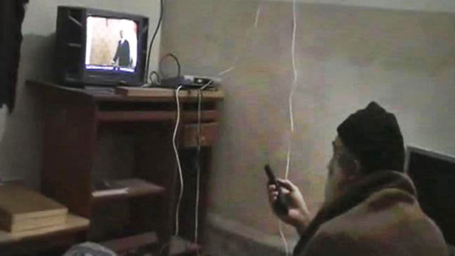 PHOTO: This undated image from video, seized from the walled compound of al-Qaida leader Osama bin Laden in Abbottabad, Pakistan, and released by the U.S. Department of Defense May 7, 2011, shows a man, identified as Osama bin Laden, watching President Ba
