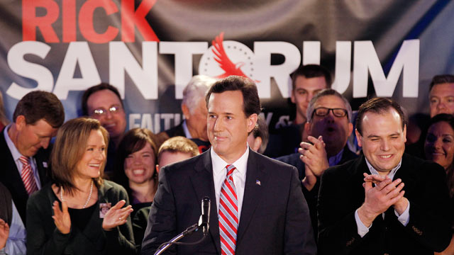 PHOTO: Rick Santorum addresses supporters at his Iowa caucus victory party, Jan. 3, 2012, in Johnston, Iowa.