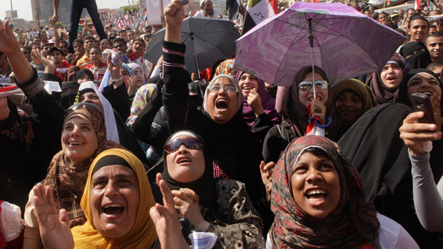 PHOTO: Egyptian protesters shout slogans at a protest in Tahrir Square, Cairo, Egypt, June 8, 2012.