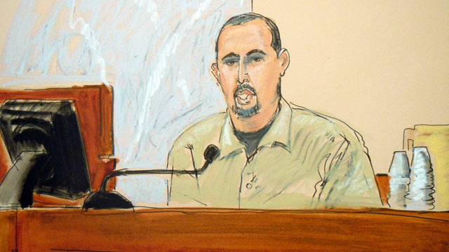 PHOTO: In this courtroom sketch, Najibullah Zazi testifies in the terror trial of Adis Medunjanin, accused in a foiled plot to attack New York City subways, in federal court in Brooklyn, New York, April, 18, 2012.