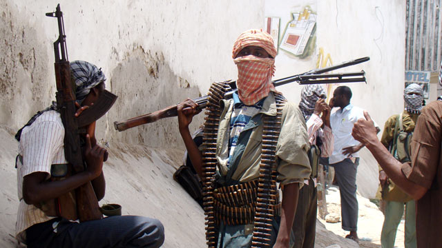 PHOTO: Shabab militia patrol Bakara Market in Mogadishu.