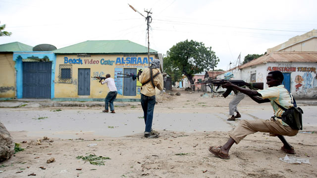 PHOTO: Al-Shabaab fighters exchange gun fire with government forces in Mogadishu on July 3, 2009. Ahmed Abdulkadir Warsame, a Somali national and suspected leader of the Al-Shabaab terror group, was captured by U.S. special forces off Africas eastern co
