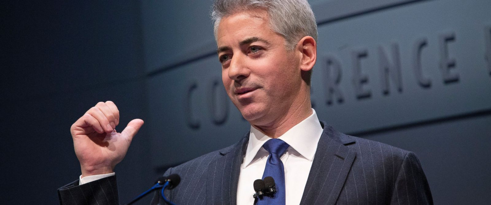 "PHOTO: William ""Bill"" Ackman, founder and chief executive officer of Pershing Square Capital Management LP, speaks during a presentation in New York, U.S., on Dec. 20, 2012."