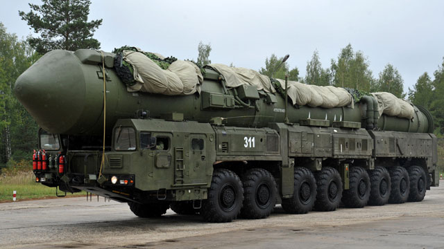 PHOTO: A Russian RS-24 Yars thermonuclear intercontinental ballistic missile launcher rolls at a strategic missile forces base near the town of Teykovo, some 200 km northeast of Moscow, Sept. 22, 2011.
