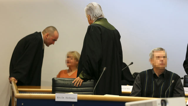 PHOTO: Accused Russian spies with the aliases Andreas (R) and Heidrun (L) Anschlag appear in court on the first day of their trial on Jan. 15, 2013 in Stuttgart, Germany. NOTE: The identities of people in this image have been obscured at the request of t
