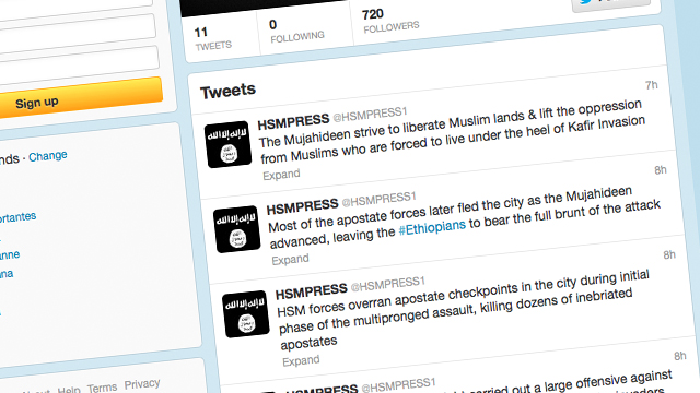 PHOTO: Al-Qaeda linked al-shabab has opened a new Twitter account in English.