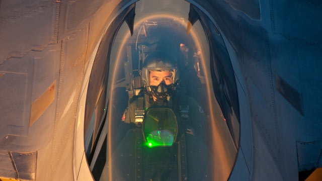 PHOTO: An F-22 Raptor pilot from Tyndall Air Force Base, Fla. flies behind a KC-135 Stratotanker from Altus AFB, Okla. after an air refueling Aug. 21, 2012. The F-22 was refueled outside of New York in support of the Brooklyn Cyclone fly-over during Air F