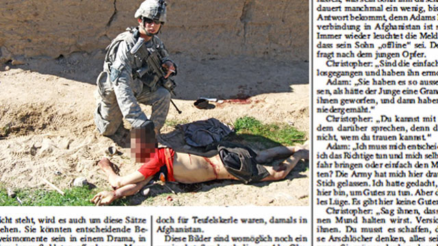 "PHOTO: The US army has formally apologized ""for the distress"" caused by pictures portraying abuse allegedly committed by US troops serving in Afghanistan and published in Der Spiegel."