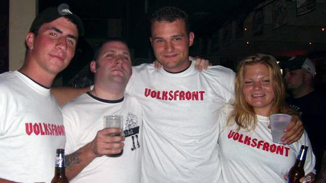 PHOTO: Misty Cook, a former girlfriend of Wade Page, the man authorities say killed six people in a Sikh temple in Milwaukee before being gunned down, is seen here (far right) wearing a t-shirt with the name of the extremist right-wing group Volksfront.