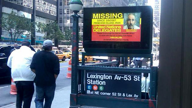 PHOTO: A billboard is post above a subway entrance in New York, NY addressing United Nations Delegates of missing, retired FBI agent, Robert Levinson.