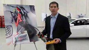 Matthew Schwall, managing engineer of Exponent?s Vehicle Engineering, shows a rewired accelerator pedal in a video posted Mar 8, 2010 on Toyota?s website.