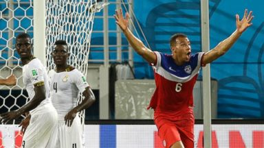 PHOTO: United States John Brooks, celebrates after scoring his sides second goal during the group G World Cup soccer match between Ghana and the United States at the Arena das Dunas in Natal, Brazil, June 16, 2014. The United States won the match 2-1.