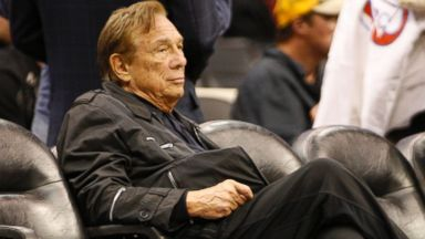 PHOTO: Los Angeles Clippers owner Donald Sterling sits courtside at an NBA basketball game between the New York Knicks and the Los Angeles Clippers in Los Angeles, April 4, 2010.