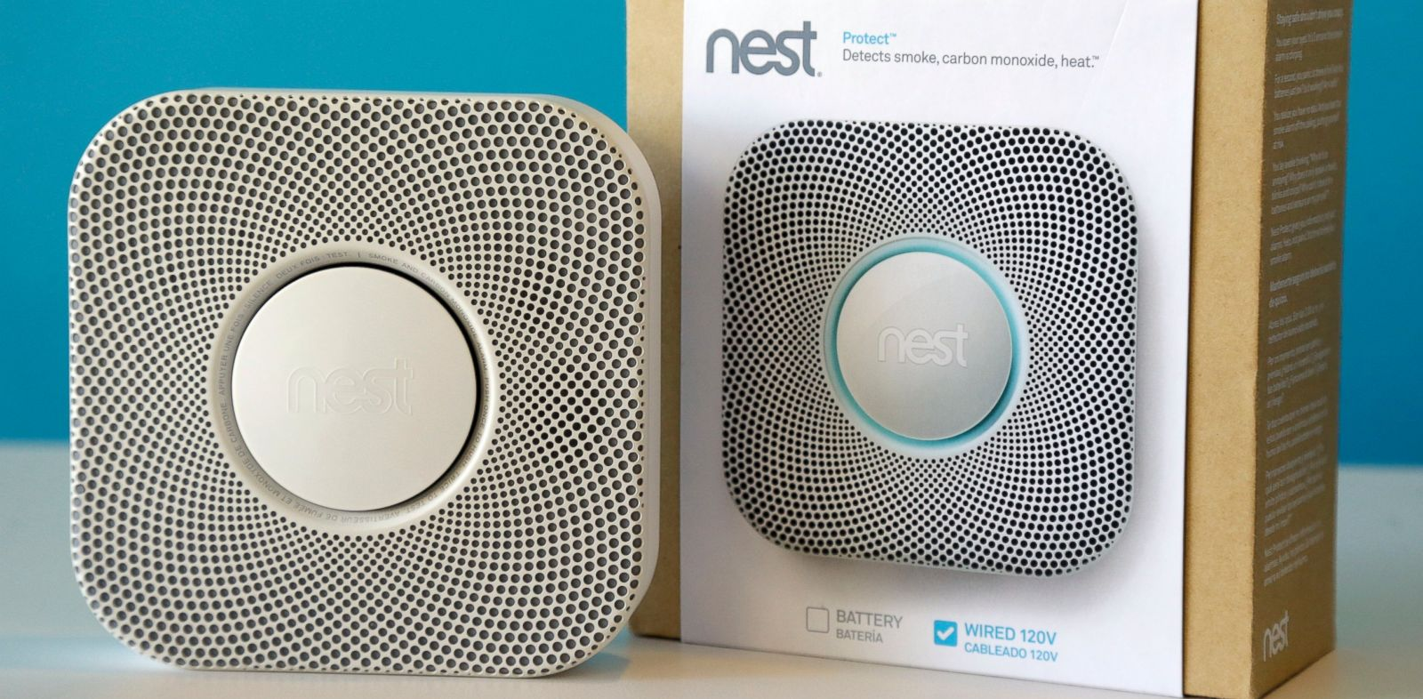 PHOTO: One of Nests products, the smoke and carbon monoxide alarm, is shown at the companys offices, in Palo Alto, Calif.