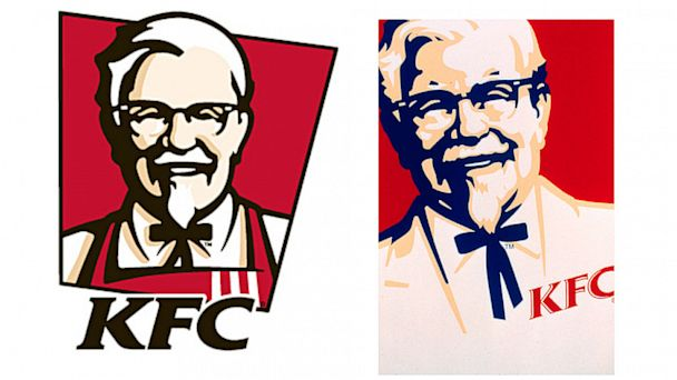 PHOTO: Kentucky Fried Chickens original logo design, left, and redesign, right.
