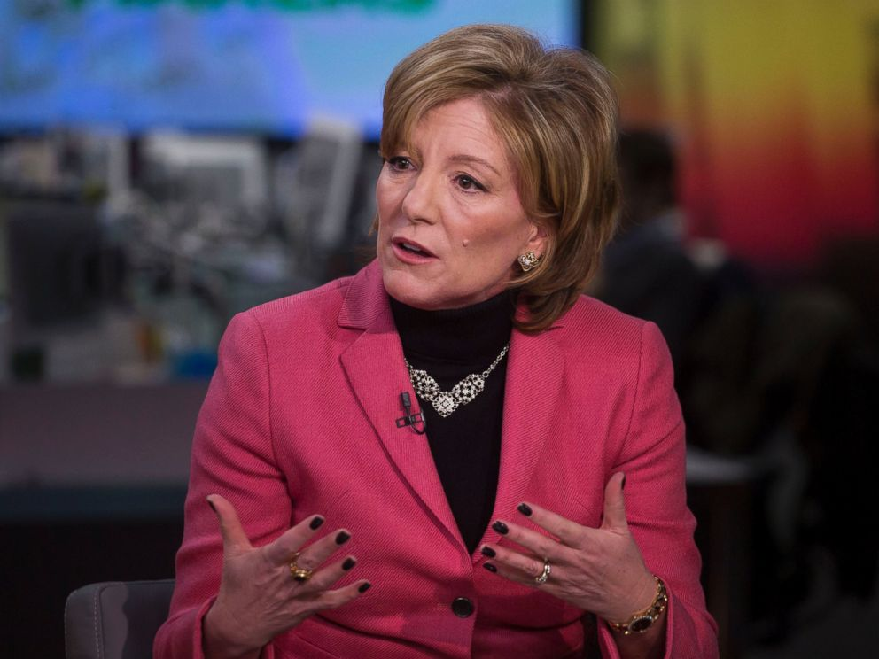 PHOTO: Sherilyn McCoy, chief executive officer of Avon Products Inc., speaks during a Bloomberg Television interview on March 6, 2015 in New York City.