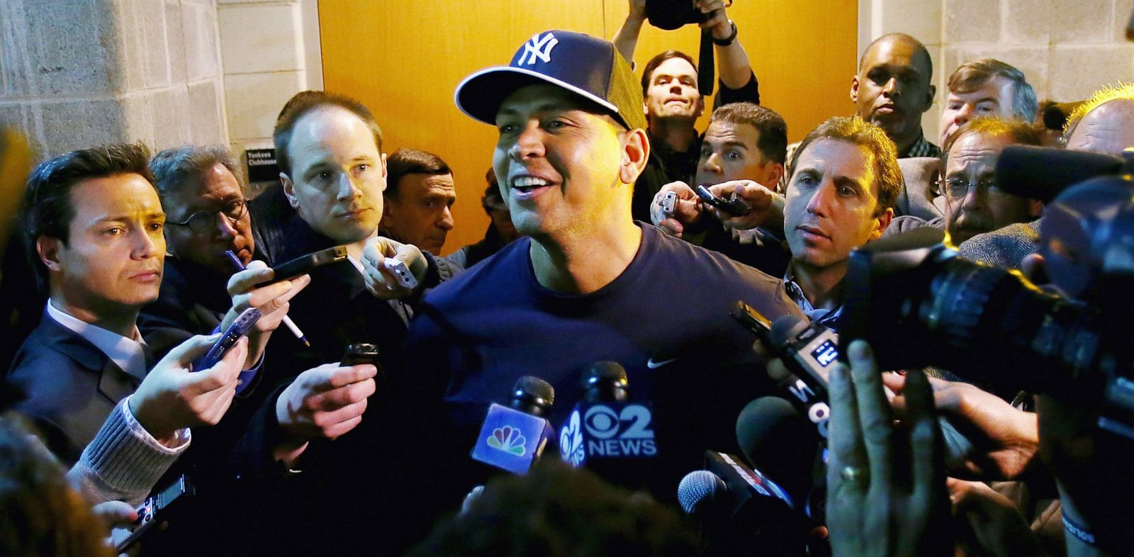 PHOTO: Alex Rodriguez of the New York Yankees answers questions outside the clubhouse before the game against the Boston Red Sox during Opening Day, April 1, 2013 at Yankee Stadium in the Bronx borough of New York City.