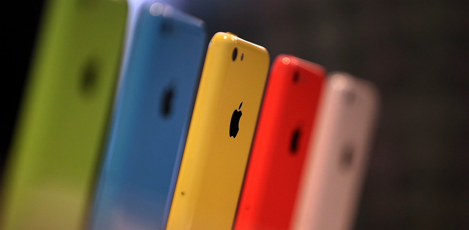 PHOTO: The new iPhone 5C is displayed during an Apple product announcement at the Apple campus, Sept. 10, 2013, in Cupertino, Calif.