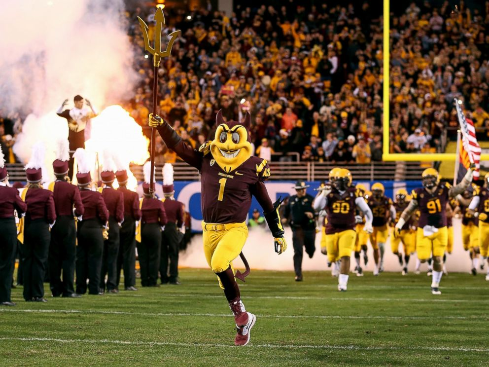 PHOTO: Arizona State Sun Devils mascot, Sparky runs out onto the field during the Pac 12 Championship game against the Arizona State Sun Devils at Sun Devil Stadium, Dec. 7, 2013, in Tempe, Arizona.