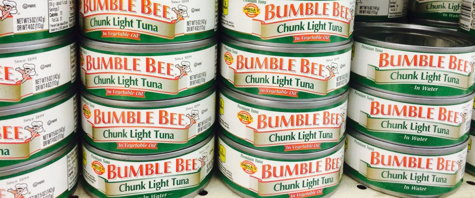 PHOTO: Cans of Bumble Bee chunk light tuna are pictured in this April 13, 2015 file photo.